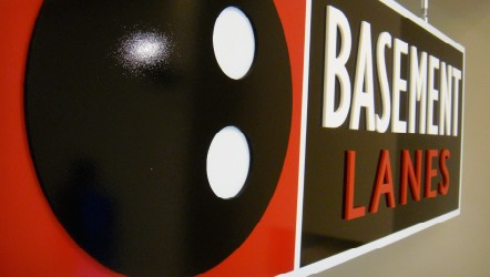 Bespoke  hanging sign from dibond / acrylic