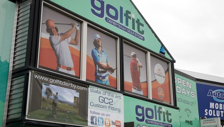 Contra-vision window graphics at Golf-fit Derby for Cobra Puma