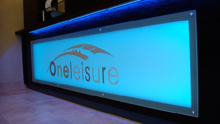 Glass effect 6mm acrylic routed with silver dibond lettering