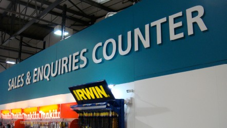 Painted wall with customer perspex lettering
