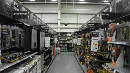 Various weight grey centred display board for Homebase