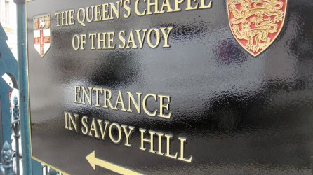 Fabricated Sign for The Queens Chapel of the Savoy