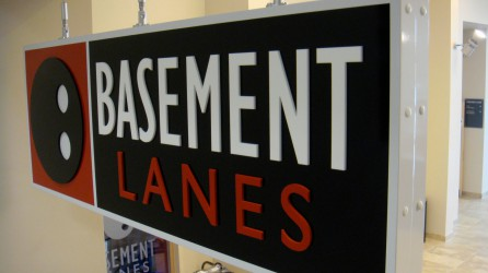 Dibond Sign from 3mm, vinyl to face with laser cut lettering. Supported from Ceiling